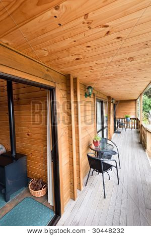 Terrace Of Mountain Wooden Lodge