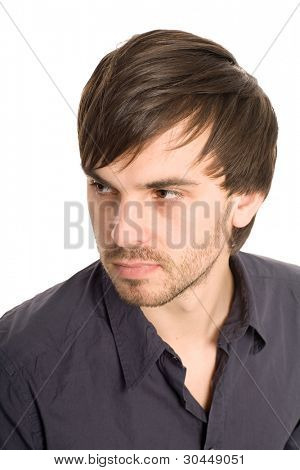 Closeup young handsome man looking away isolated on white