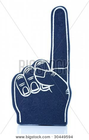 "A blue foam finger for sports activity signifying ""we are number 1!"""