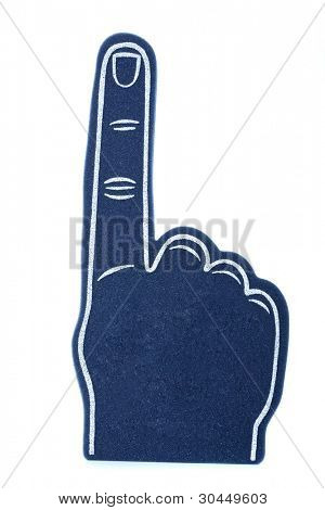 "A blue foam finger for sports events signifying ""we are number 1!"""
