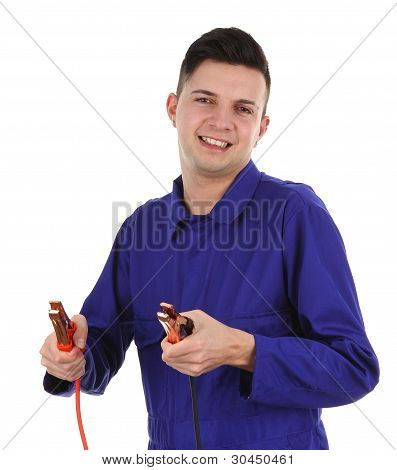 Mechanic With Battery Clamps