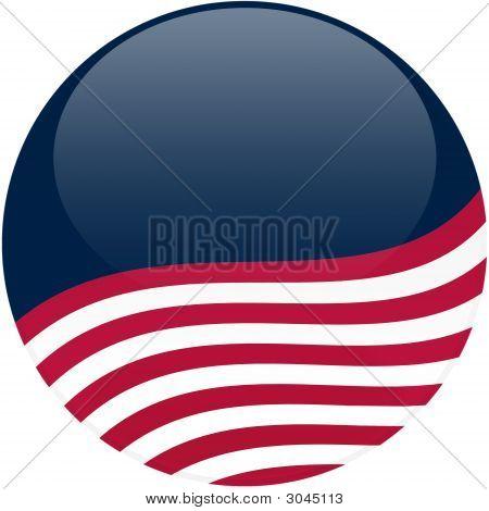 Waving American Flag On Blue