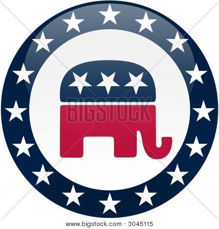 Republican Button - White And Blue