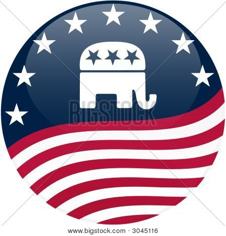 Republican Button - Waving Flag