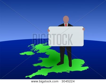 British Man With Blank Sign