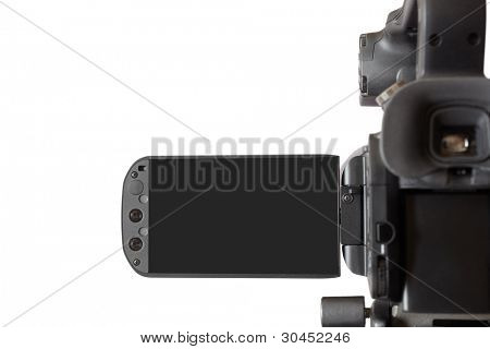 high end camcorder isolated on white background with blank screen