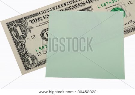 Money And Sticker On A White Background. Business Concept, Donation.