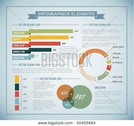 Blue Vector  retro / vintage set of Infographic elements for your documents and reports