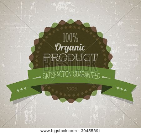 Old vector round retro vintage grunge label for bio / organic product