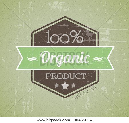 Old vector retro vintage grunge label for bio / organic product
