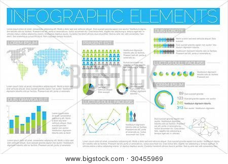 Big Vector set of Infographic elements for your documents and reports (blue and green version)
