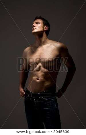 Handsome Topless Man In Jeans