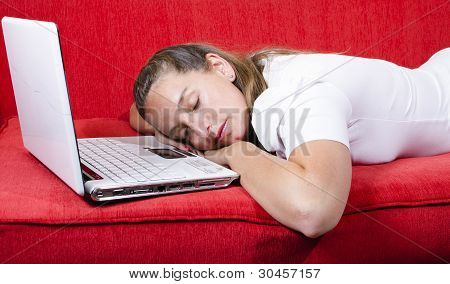 Woman Falls Asleep While Working