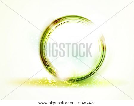 Overlying semitransparent round frames in shades of soft yellow, green and orange shapes with light effects forming an abstract round placeholder with space for your text.