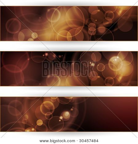 Header, banner set. Overlying semitransparent circular shapes forming a bokeh background with space for your text. Can be used on websites or flyers.