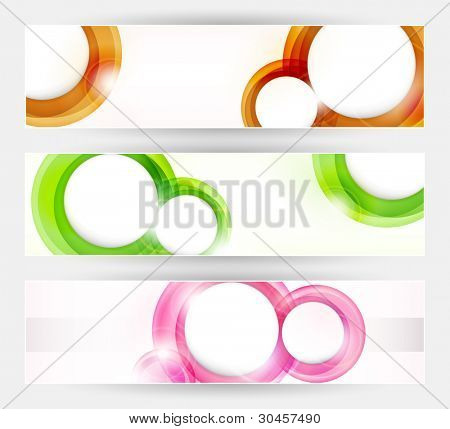 Vector header, banner set. Overlying semitransparent circular shapes forming speech bubble like space for your text. Can be used on websites or flyers.