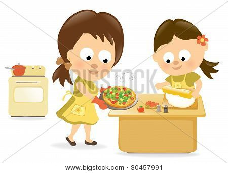 Mother and daughter baking pizza