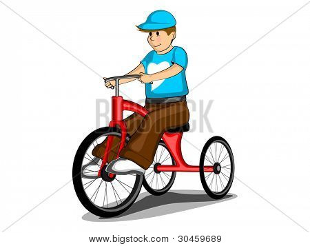 Young boy wearing heart shape tshirt and cap with cycle, isolated on white background.