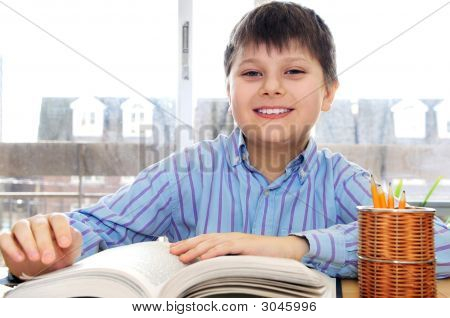 School Boy Studying