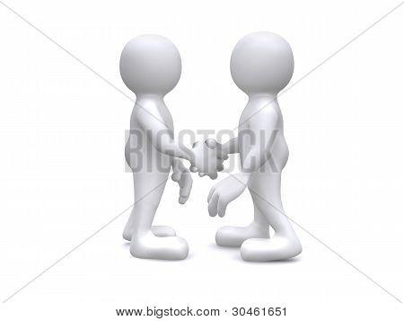 3D Human shaking hands