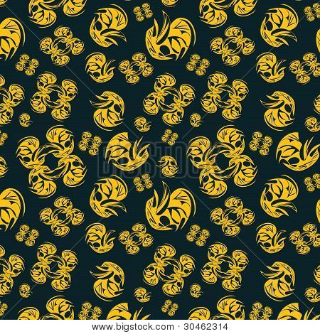 Yellow Seamless Pattern On Black Background