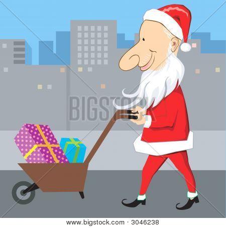 Santa And Wheel Barrow