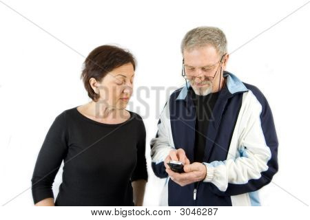 Couple Checking The Text Message
