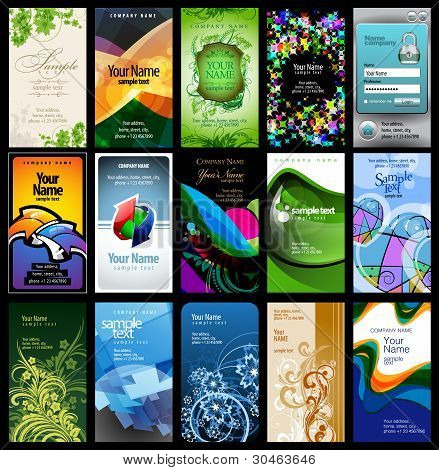 variety of 15 vertical business cards