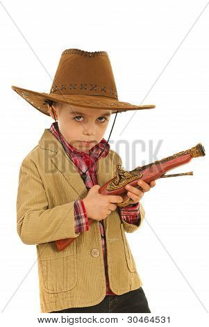 Serious Cowboy Holding Weapon Toy