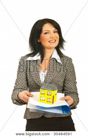 Business Woman Offering Home And Contract