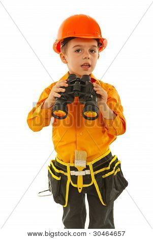Little Worker Boy With Binocular