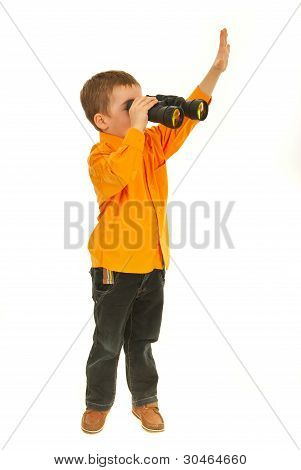 Boy Looking Throught Binocular