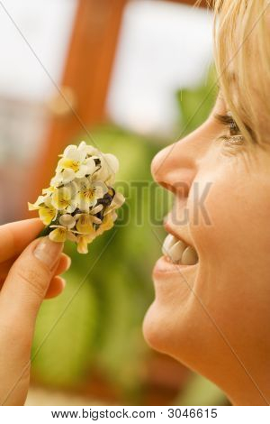 Happy Woman With Wildflowers Bouquet
