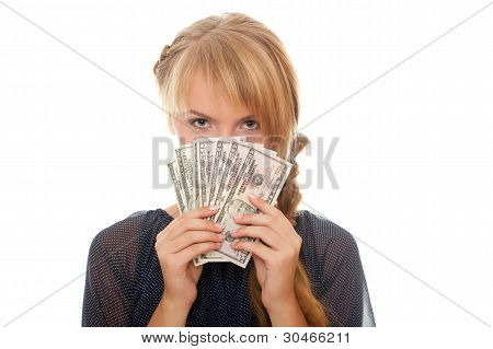 Young Woman Holding Money In The Face