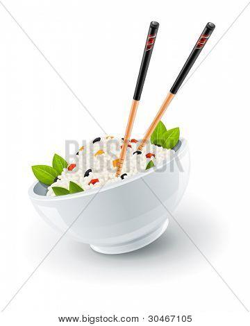 Reis auf Teller mit chinesischen Stäbchen Vektor Illustration isoliert auf weißem Hintergrund