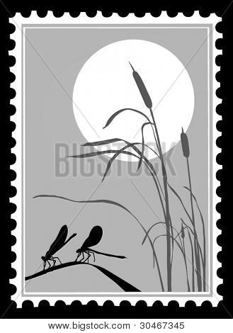silhouette dragonfly on postage stamps