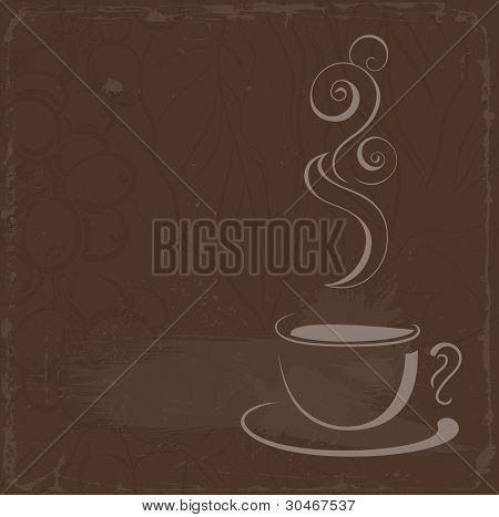 raster version of cup of hot black coffee