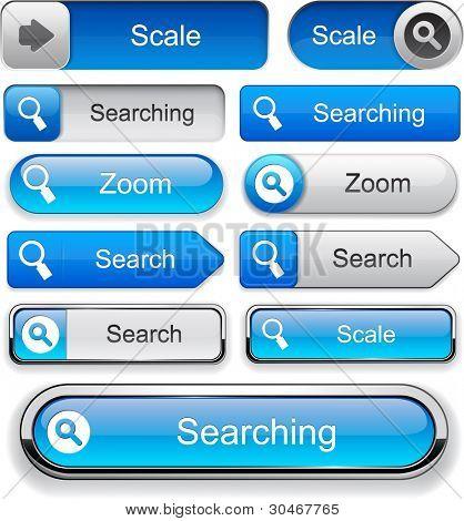 Search blue design elements for website or app. Vector eps10.