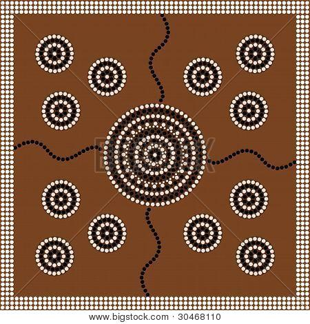 Aborigines-Stil des Dot Bild Kreis.