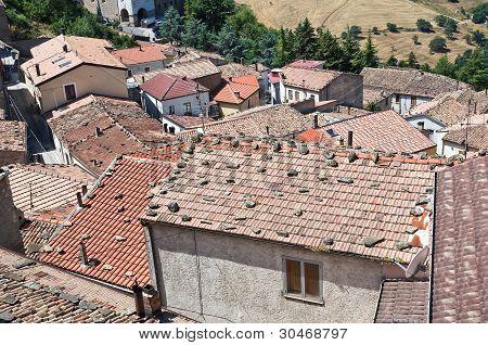 Panoramic view of Pietrapertosa. Basilicata. Southern Italy.