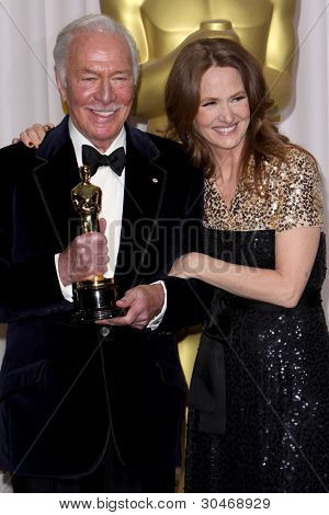 LOS ANGELES - FEB 26:  Christopher Plummer; Melissa Leo arrives at the 84th Academy Awards at the Hollywood & Highland Center on February 26, 2012 in Los Angeles, CA.