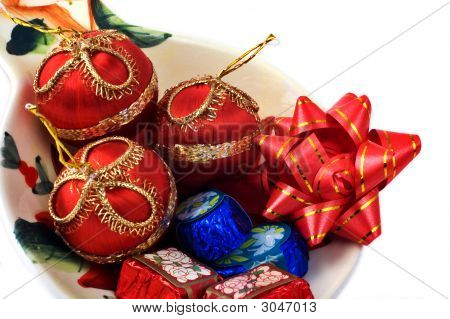 Chocolates And Christmas Ornaments