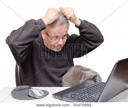 Portrait of a middle aged caucasian man looking at his laptop computer tearing off his hair. Man is wearing casual black sweater with his cat nearby. Horizontal format isolated on white background.