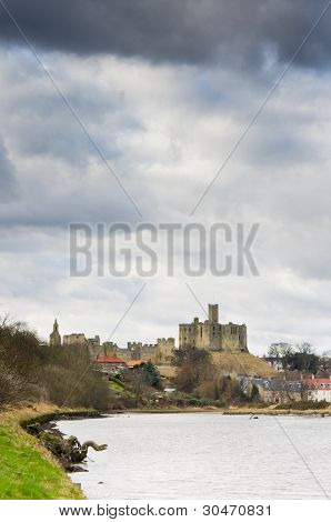 Warkworth Castle Above River Coquet