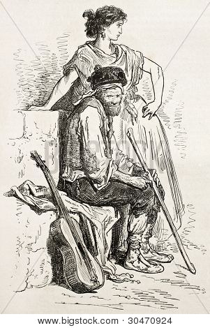 Spanish guitarrst and dancer, La Mancha. Created by Gustave Dore, published on Le Tour Du Monde, Ed. Hachette, Paris, 1867