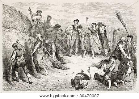 Seguidilla bailarines vieja ilustración. Creado por Gustave Doré, publicado en Le Tour Du Monde, París,