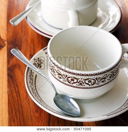 An Empty Cup Of Coffee On A Wooden Table