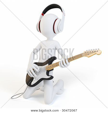 3D Man Rocking With Guitar