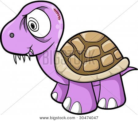 Crazy Insane Turtle Animal Wildlife Vector Illustration Art