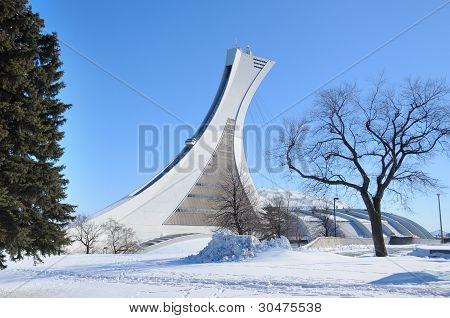 Montreal olympic stadium and tower.